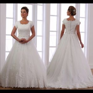 Dresses & Skirts - Custom made Modest Wedding Dress lace gown bridal